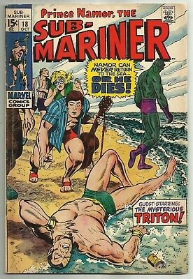 """SUB-MARINER #18 (Marie Severin Art, """"Side-by-Side with Triton!"""") Marvel, 1969"""