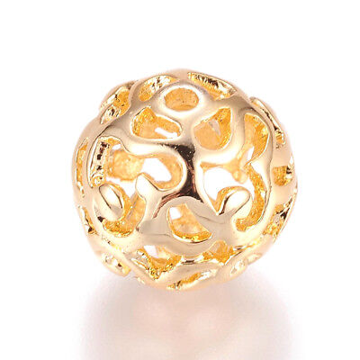 30pcs Brass Filigree Ball Metal Beads Hollow Real Gold Plated Loose Spacers 12mm