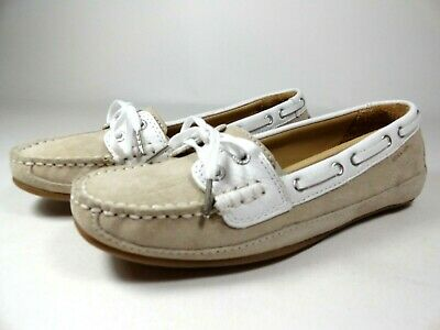 555ddff3f1ee3 New Womens Size 6 SEBAGO Bala Taupe Suede White Moccasin Deck Boat Shoes