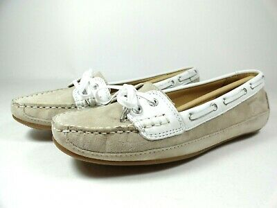 043f26bf0faea Womens Size 8.5 SEBAGO Bala Taupe Suede White Moccasin Deck Boat Shoes