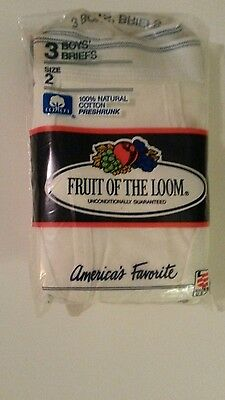 BOY'S 100% COTTON Solid White Briefs Fruit Of Loom Size 2