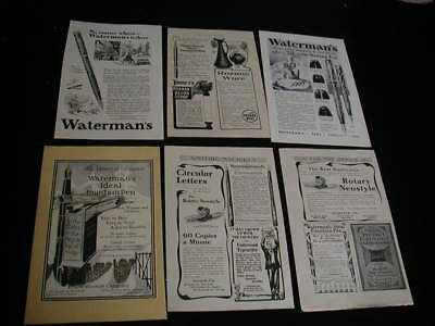 Huge lot of 6 watermans pen magazine print ads 1905-1932 fountain