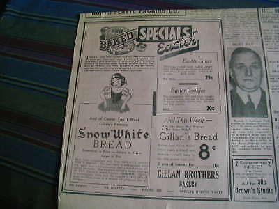 RARE 1939 gillian brothers bakery newspaper ad snow white bread