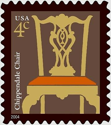 20 Stamps of Early American Chippendale Chair, 1760-65, Side Chair Carved Back