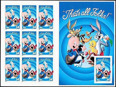 """10 Mint Porky Pig """"That's All Folks!"""" Looney Tunes STAMPS Pane Unfolded Booklet"""