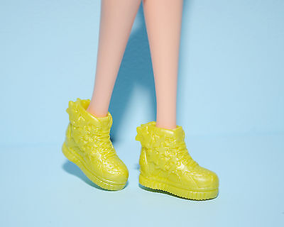Lime Yellow Green STARS High Top Athletic Tennis Sports Shoes Genuine BARBIE