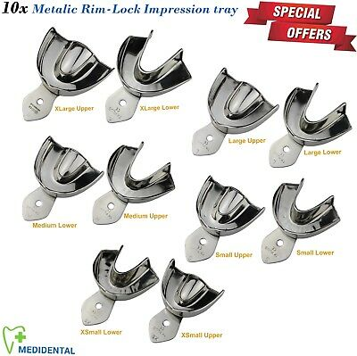 10x Impression Trays Rim Lock Non-Perforated Solid Upper & Lower Full Denture CE