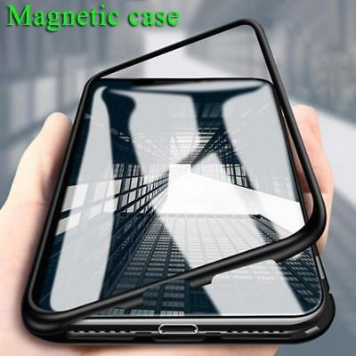 Magneto Metal Case Iphone X 7 8 Case Luxury Cover Plus Tempered Glass Magnetic