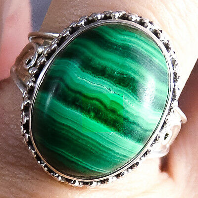 Collared Granulation Ring Size US 8 3/4 SILVERSARI Solid 925 Silver + MALACHITE