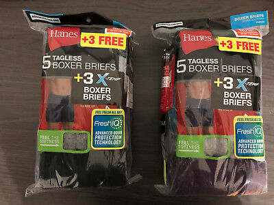 Hanes Men's Tagless Boxer Briefs 8 PACK SIZE M Black & Gray NEW Cotton FAST SHIP