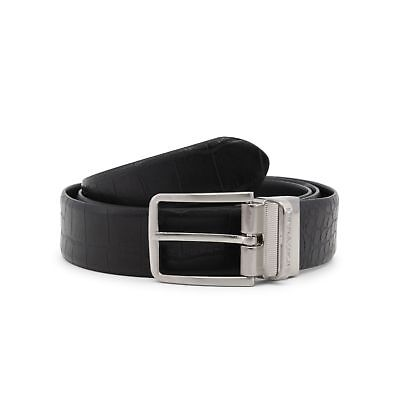 NEW MENS EMPORIO ARMANI BLACK PLAQUE LEATHER BELT BELTS -  121.95 ... f981d94974b