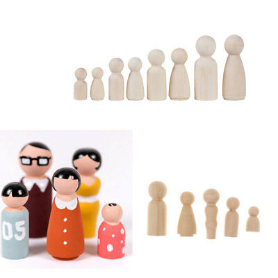 17Pc Natural Unfinished Wooden Peg Doll Bodies People DIY Art Craft Kids Toy