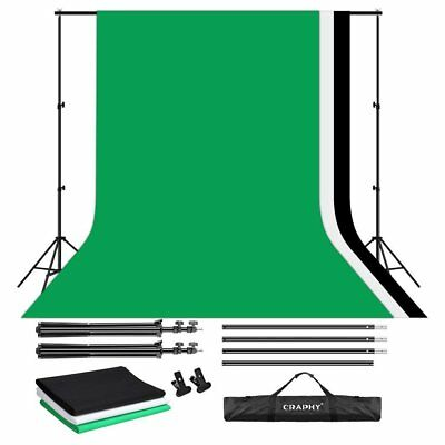 Kit Studio Photo 3 Tissus de Fond Noir Blanc Vert 2x3M Trépied Support 2 Clips