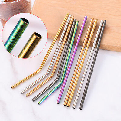 4PCS Reusable Drinking Straw Stainless Steel Eco-friendy Metal Straw Bar Tool HQ