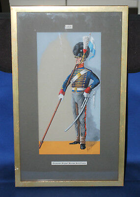 A watercolour painting of a Gunner, Royal Horse Artillery, 1805, framed, mounted
