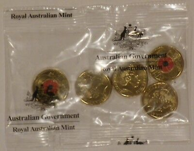 2018 $2 Armistice coin with RED Poppy printing RAM sealed satchet bag of 5 UNC