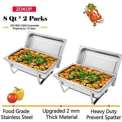 Pack of 2 Chafing Dishes Set Food Warmers 9L 2 Pans with 4 Fuel Holders