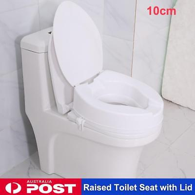 10cm Raised Toilet Seat with Lid Rise Portable Healthcare Home Aid 135KG New
