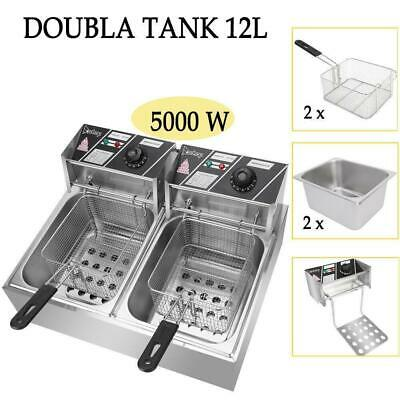 12L 5000W Electric Deep Fryer Commercial Dual Tank for Restaurant Kitchen