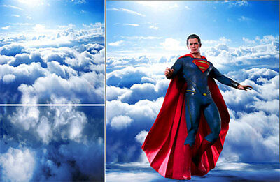 Poster Backdrop~Superman~Flying For 1/6 Figures Iron Man Thor Mms200 Mms473D23