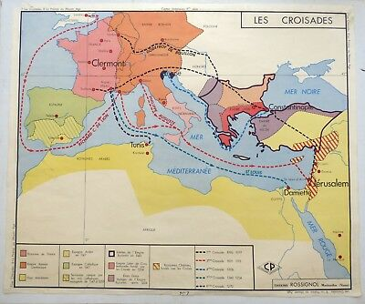 Vintage Retro Map French History School Poster Wall Art Crusades Middle Age