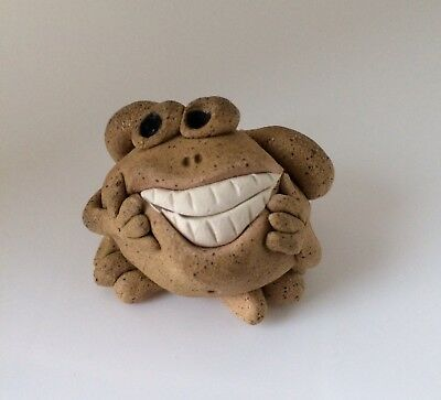 Little Guys Toothy Frog Cindy Pacileo Pottery Handmade Mid 90s Collectible