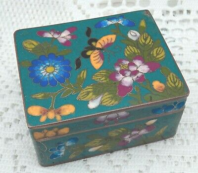Antique Japanese cloisonné box, enamelled flowers & butterfly trinket box, Japan