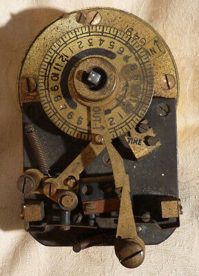 Vintage National Time Clock Movement Workers Time Recorder Brass VF 25649