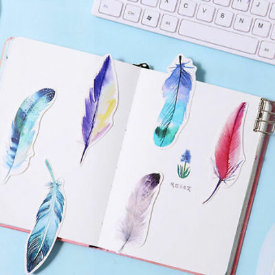 NEW 30Pcs/Pack Colorful Feather Bookmark Paper Cartoon Animals Bookmark Gift PF