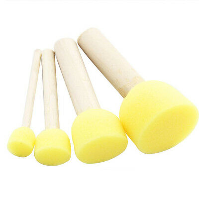 Lx_ 4Pcs Wooden Handle Sponge Brushes Furniture Art Craft Painting Tools Diy T