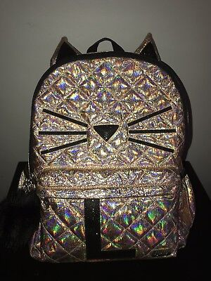 Justice Shimmer Backpack Gold Cat Quilted Initial Letter L Full Size Holo!
