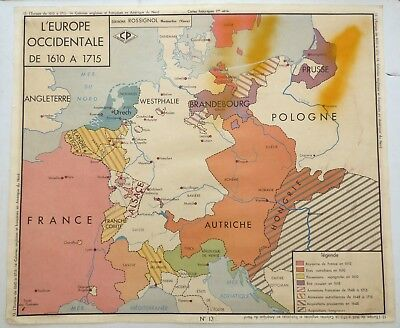 Vintage Retro Map French History School Poster Wall Art Europe North America