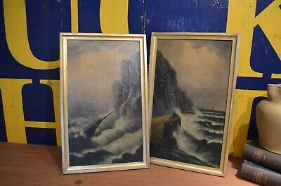 Pair 19th Century Framed Paintings On Canvas Shipwreck Cornish Coast Signed