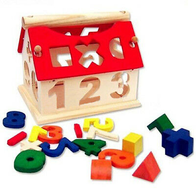 Posting House Shape Sorter Wooden Number Toys Kids Educational Intellectual Gift