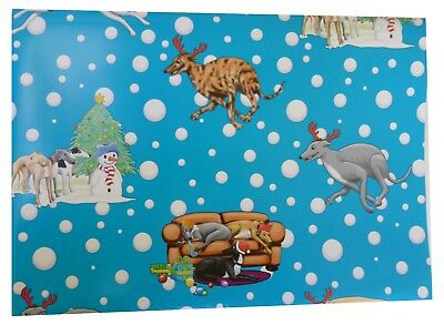 Greyhound Christmas wrapping paper, with tags (5 sheets)