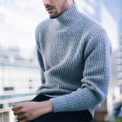 Mens Tops Knitted Turtleneck Pullover Cashmere Slim Fit  Long Sleeve Sweater