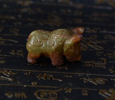 Chinese Han Dynasty Style Carved Rolling Cloud Pattern Jade Beast Statue-JR12562