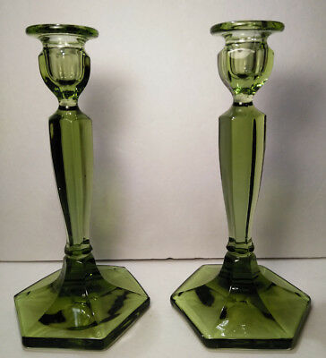 "Vintage Pair Green Glass Candlestick Holders 8 1/2"" Tall"