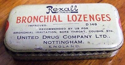 Vintage Rexall Bronchial Lozenges tin by United Drug Company Nottingham.