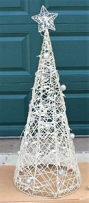 vintage wire frame wrapped silver gold white christmas tree lighted yard decor
