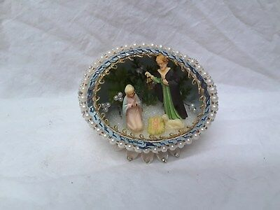 Nice Vintage Real Ornate Pearled Egg w Christmas Nativity Diorama Hand Crafted