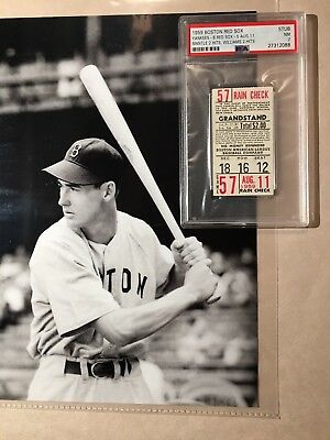 1959 Boston Red Sox New York Yankees Ticket Ted Williams Mickey Mantle