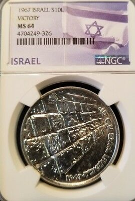 1967 Israel Silver 10 Lirot S10L Victory Ngc Ms 64 Beautiful Bright White Coin