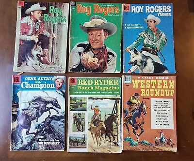 ROY ROGERS & GENE AUTRY - Lot 0f 6 Golden Age Dell Western Comics