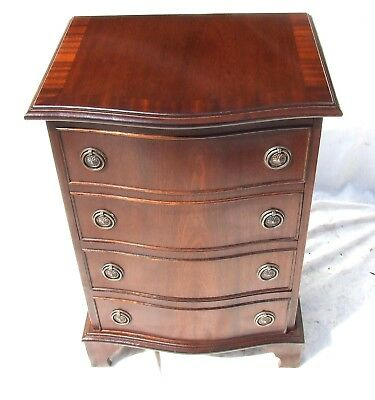 Antique Style Serpentine Mahogany Chest of Drawers / Lamp Stand Bedside Cabinet