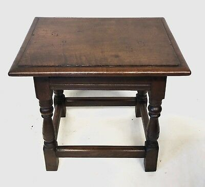 Antique Victorian Carved Oak Joint Stool / Occasional Table / Lamp Stand