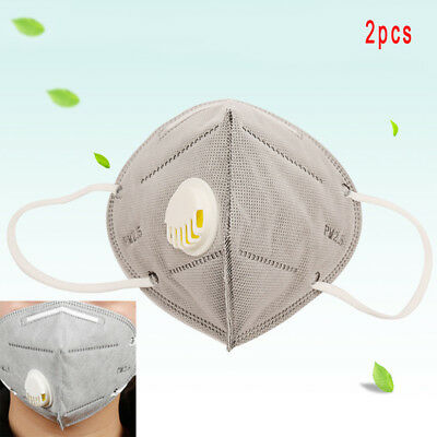 2Pcs Activated Carbon Cotton PM2.5 Anti Haze Mask Breath Valve Anti-dust Mask St