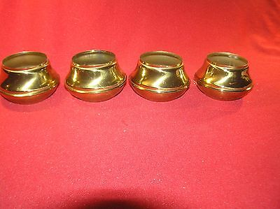 "4 Brass Bed Parts End Caps Fits 2"" Tubing Polished & Lacquered"