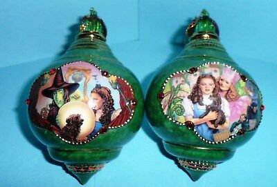 """WIZARD OF OZ GREEN  """"HEIRLOOM PORCELAIN ORNAMENT COLLECTION"""" Set of Two"""