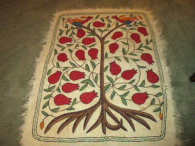 """Vintage Wool Felted Embroidered Rug / Wall Hanging Jacoben Tree of Life 50"""" x 36"""